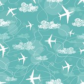 Seamless pattern of airplanes flying in the sky