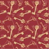 seamless pattern of antique keys