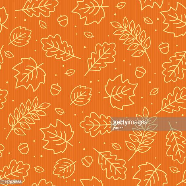 stockillustraties, clipart, cartoons en iconen met naadloze patroon van herfst bladeren. vector illustratie. - herfst