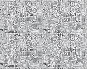 Seamless pattern of back to school drawings and doodles