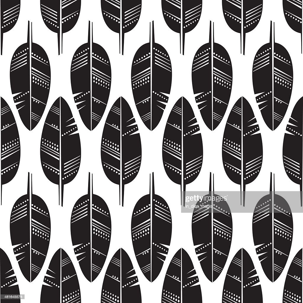 Seamless Pattern of black Feathers on white background.