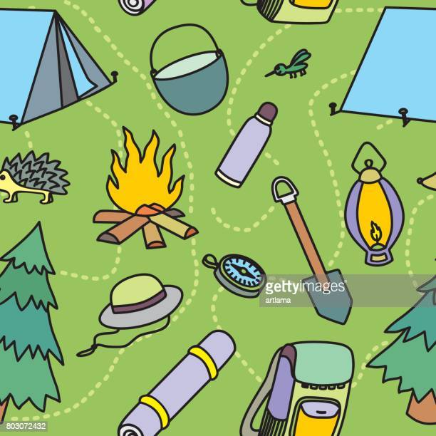 Seamless pattern of camping elements