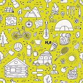 Seamless pattern of camping equipment symbols.