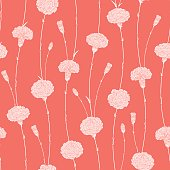 Seamless pattern of carnations