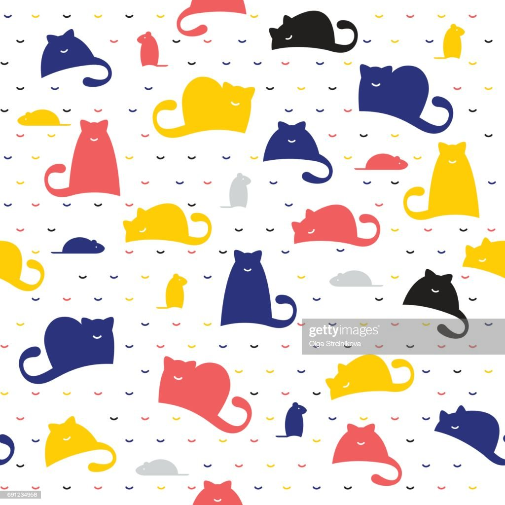 Seamless pattern of cats and mice on a white background