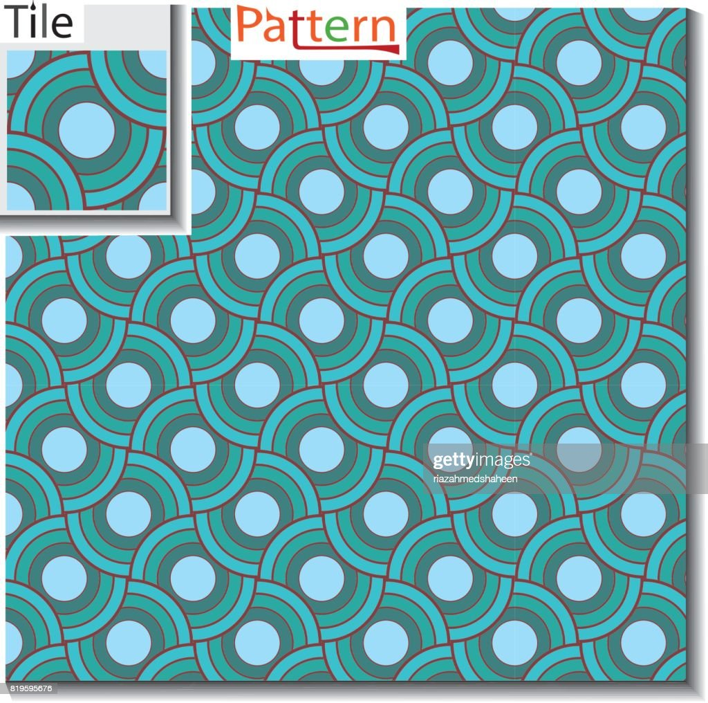 seamless pattern of circular rings or disks which are overlapped on top of each-other with original tile and luxury color schemes.