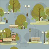 Seamless pattern of city park