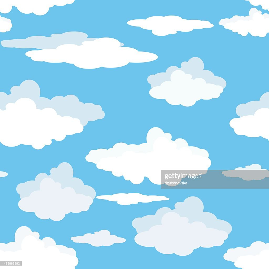 Seamless pattern of clouds on blue sky.