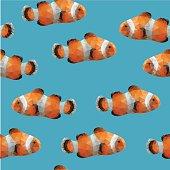 seamless pattern of clown fish
