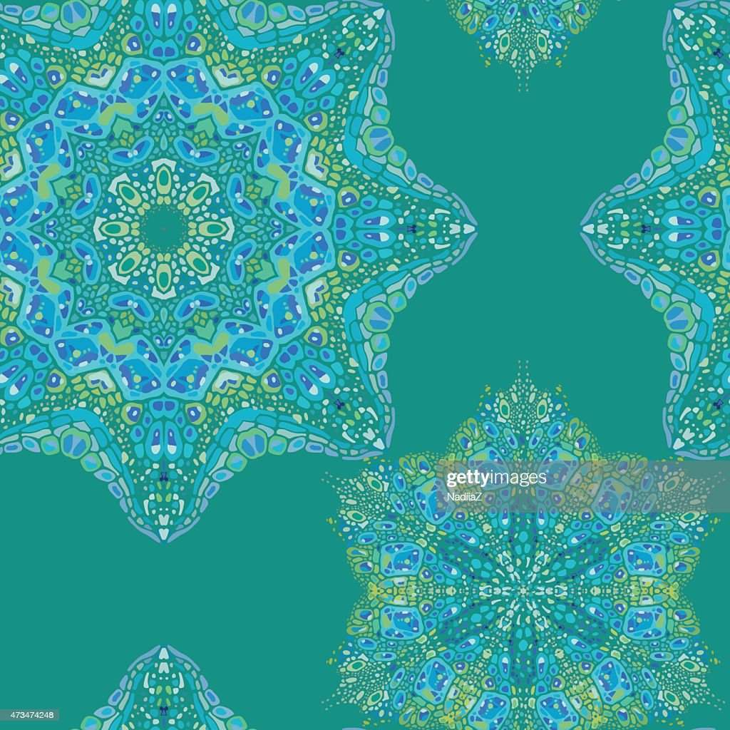 Seamless Pattern Of Colorful Abstract Mandala Shapes 3 stock