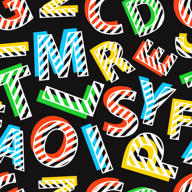 Seamless pattern of colorful letters on black background.