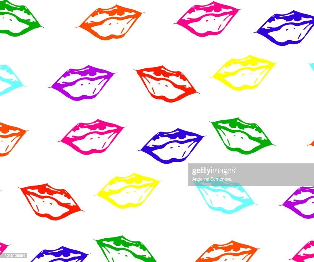 seamless pattern of colorful lips with white glare