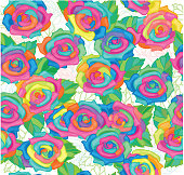 Seamless pattern of colourful roses.