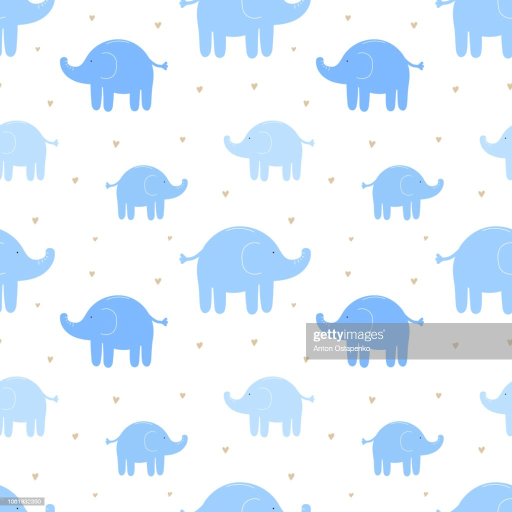 Seamless pattern of cute blue elephants and hearts. Vector image for boy. Illustration for holiday, baby shower, birthday, textile, wrapper, greeting card, print, banners, flyers