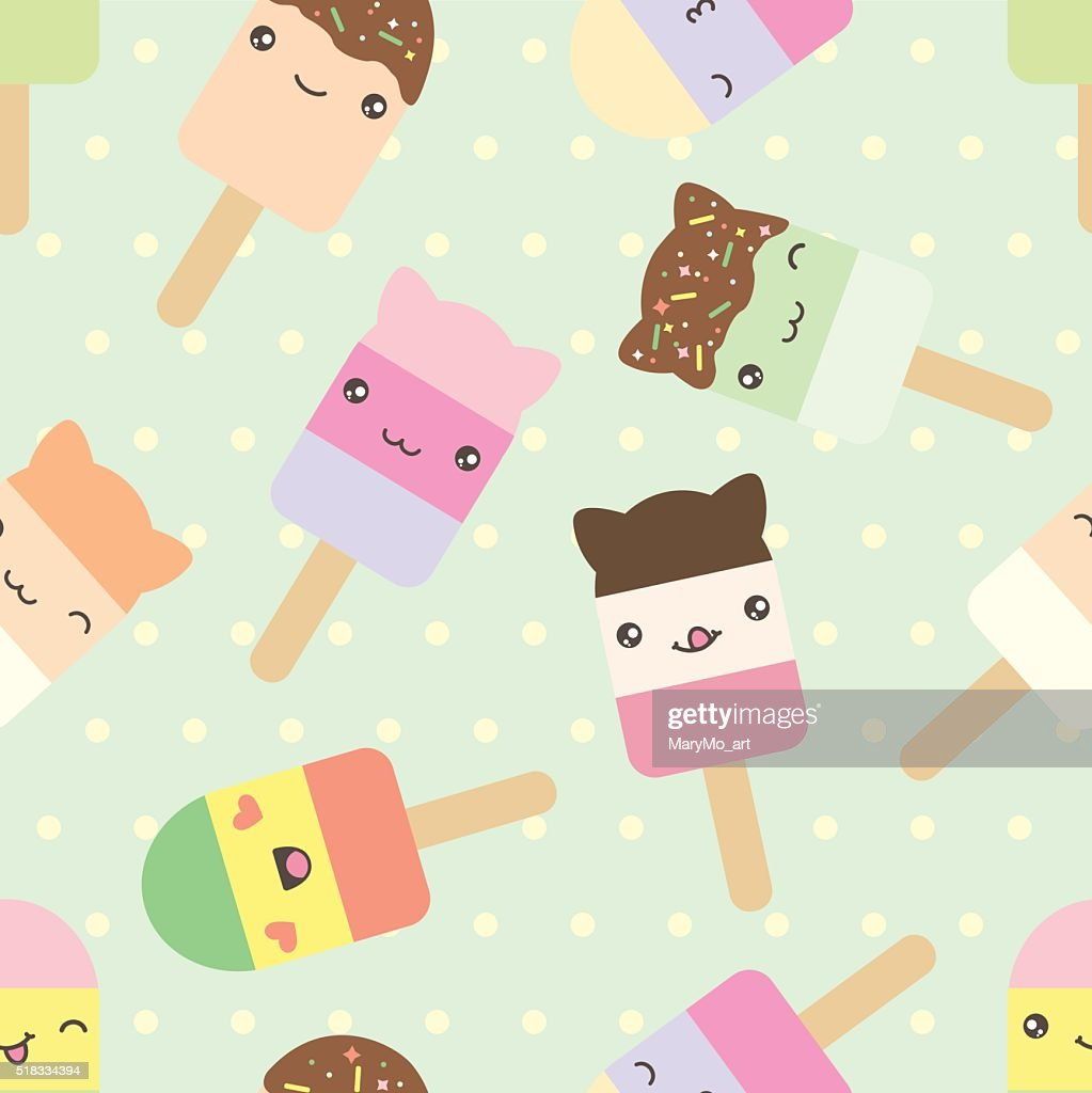 Seamless pattern of cute kawaii style ice cream bars