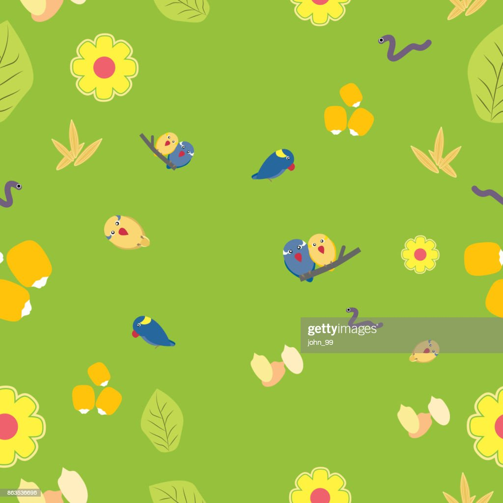 Seamless pattern of cute parrots seeds grain flower and leaf on green background.