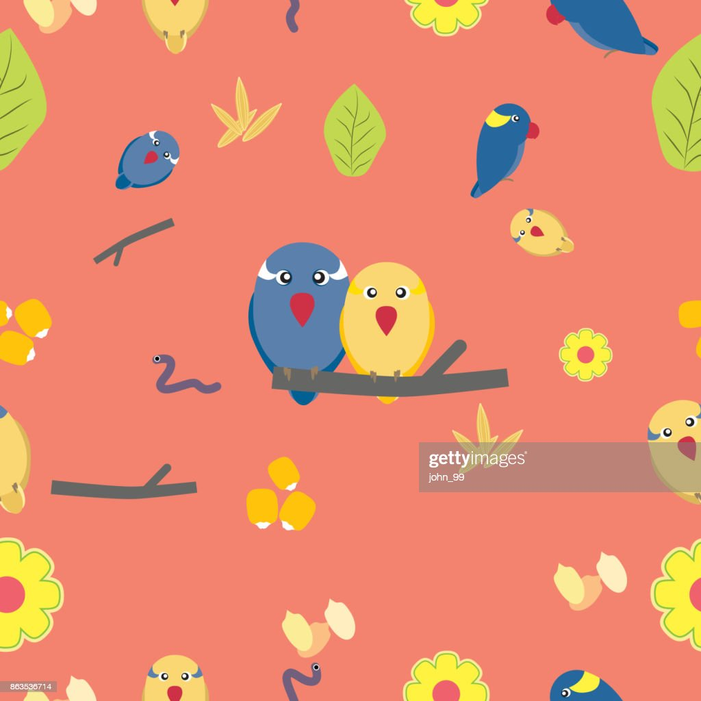 Seamless pattern of cute parrots seeds grain flower and leaf on pink background.
