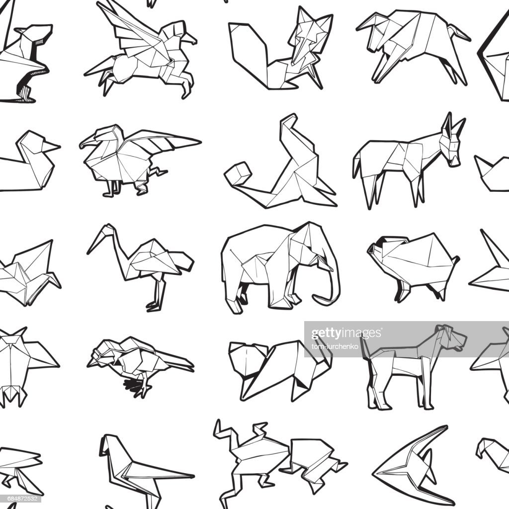 Seamless Pattern of Different Origami Animal. Hand Drawn Illustration.