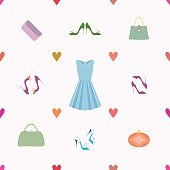 Seamless pattern of dress, shoes, handbags, hearts