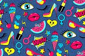 Seamless pattern of fashion patch badges. lips, kiss, stickers, pins.