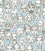 Seamless pattern of female and male doodle hand drawn portraits.