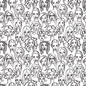 Seamless pattern of female doodle hand drawn portraits.