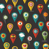 Seamless pattern of flat icons location.
