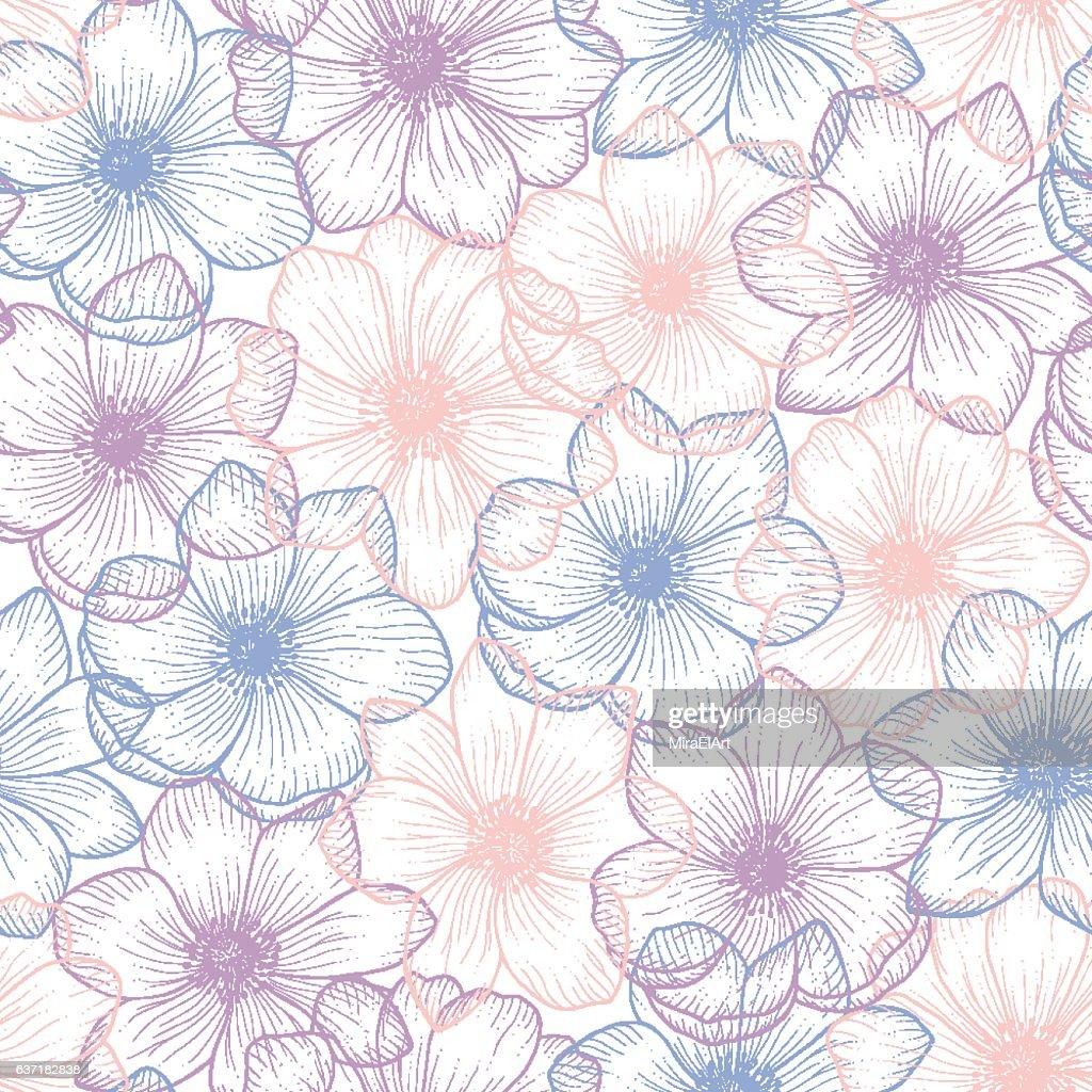 Seamless pattern of flower anemone