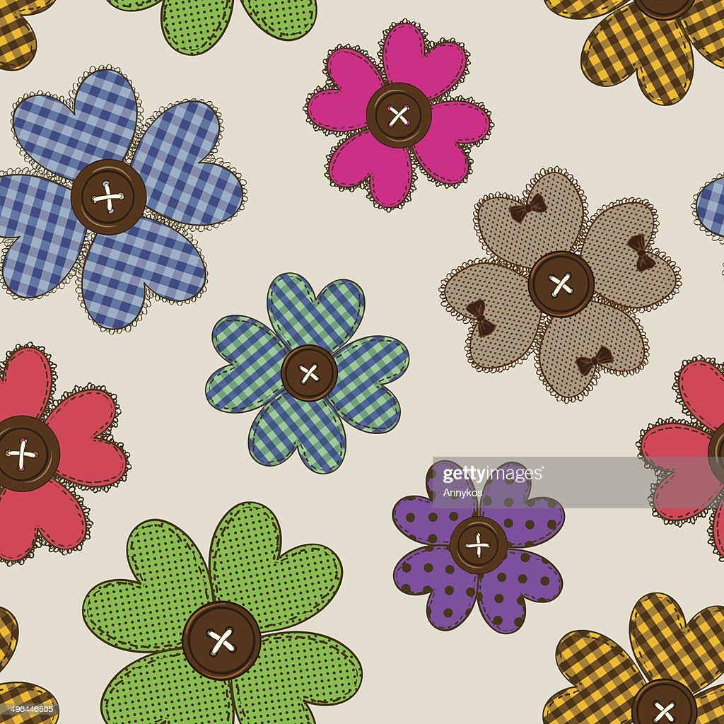 Seamless pattern of flower patchworks