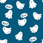 Seamless pattern of funny ghosts saying Boo.
