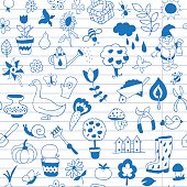 Seamless pattern of gardening objects are drawn on a notebook in a ruler.