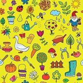 Seamless pattern of gardening objects.
