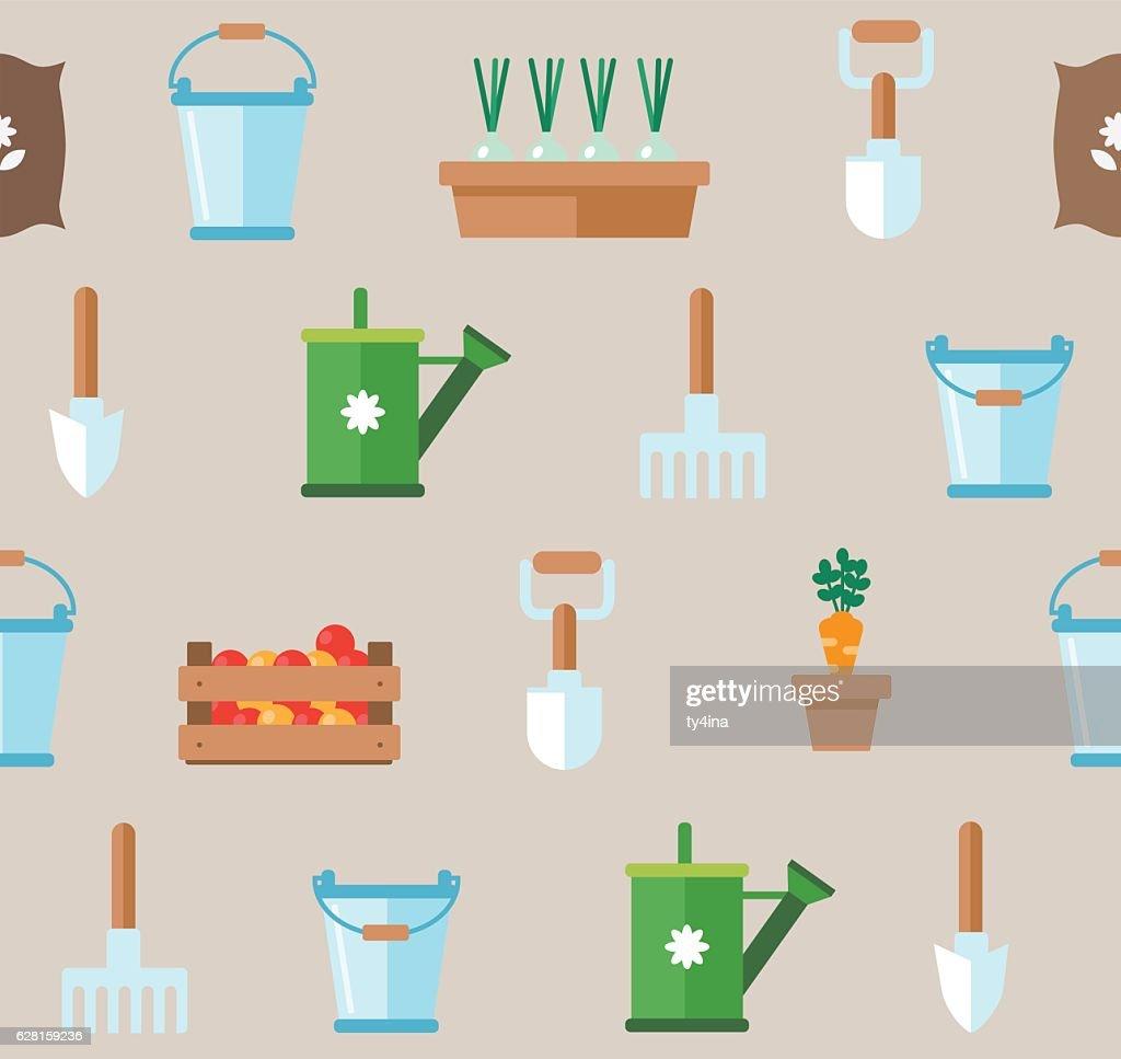 Seamless pattern of gardening tools. Vegetable garden planner flat design