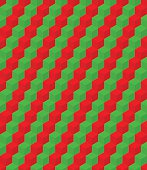 Seamless pattern of geometric cube elements, red green stripes