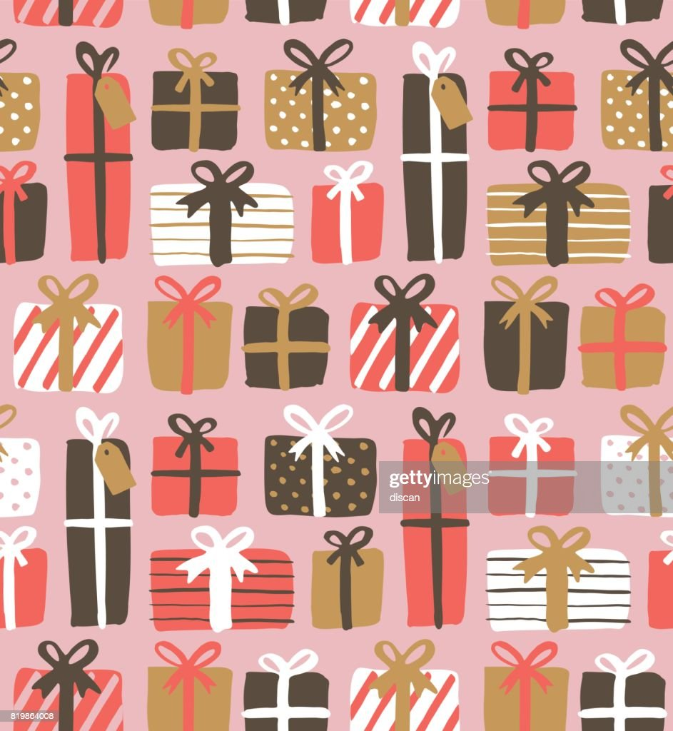 Seamless pattern of gift boxes : stock illustration