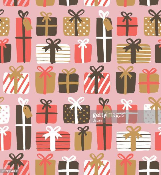 seamless pattern of gift boxes - gift stock illustrations