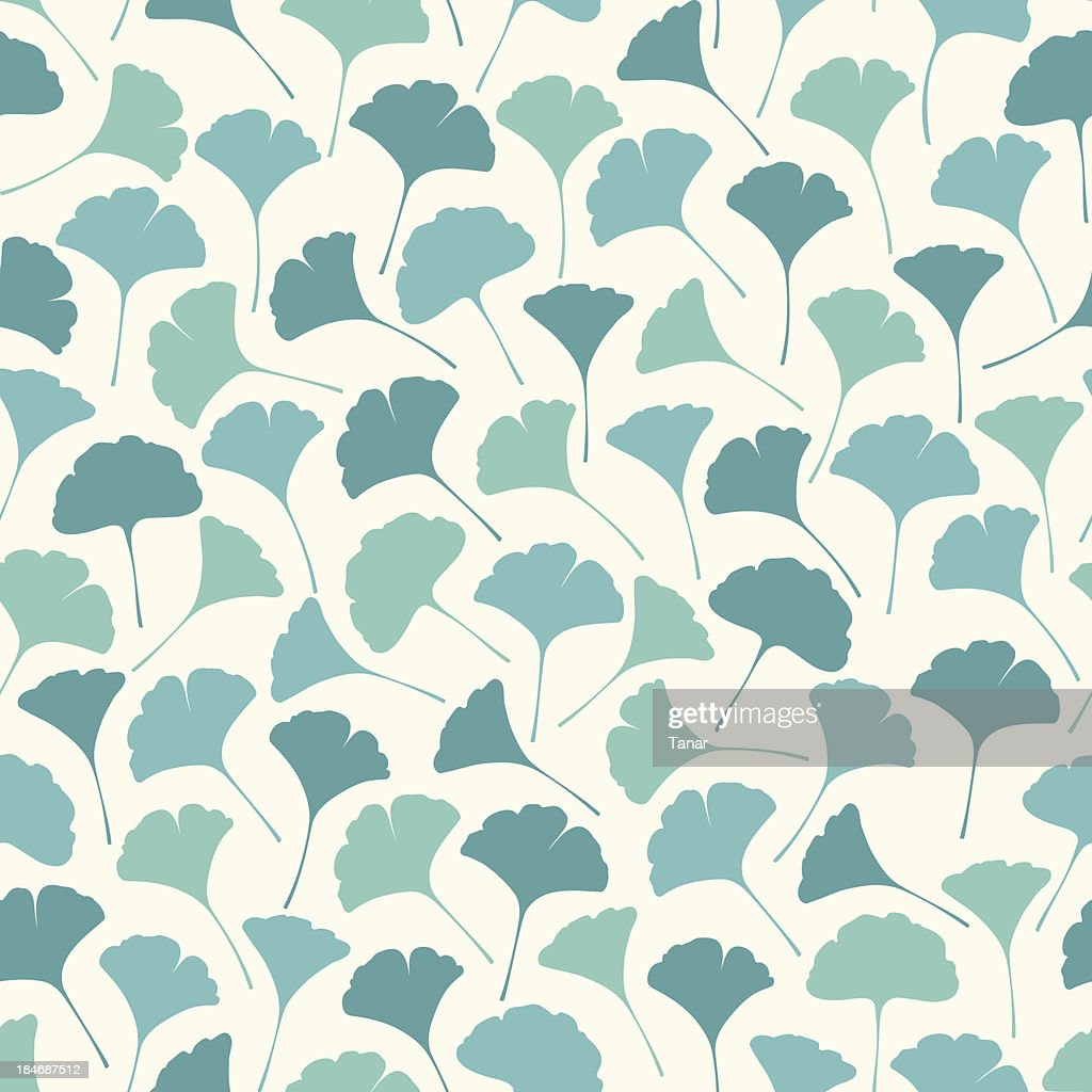 Seamless Pattern of Ginko Leaves