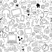 seamless pattern of hand drawn doodle cartoon objects and symbols on the Social Media theme.