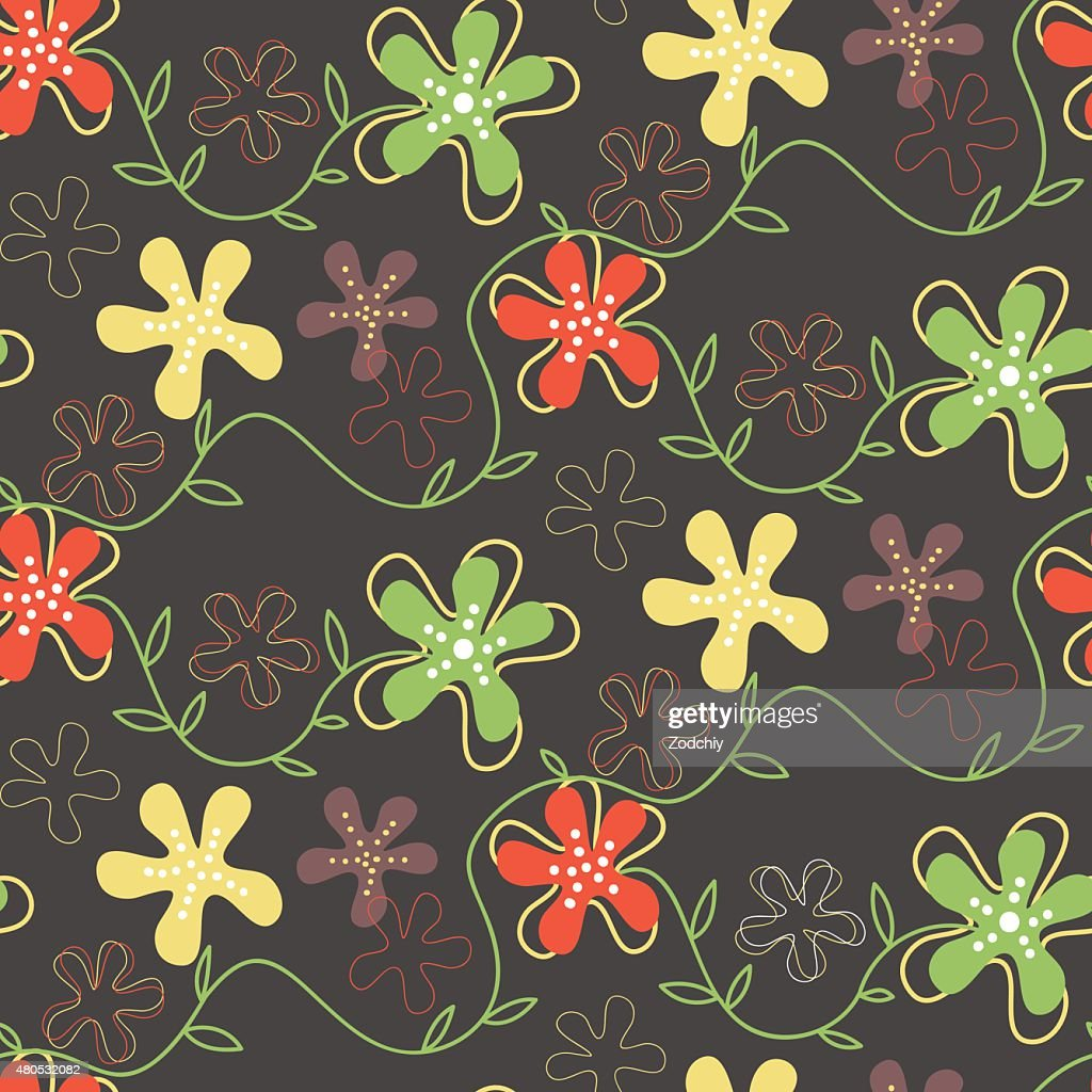Seamless pattern of hand drawn summer flowers : Vectorkunst