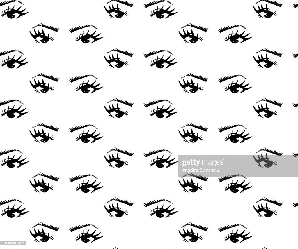 Seamless pattern of hand-drawn woman s eyes with shaped eyebrows