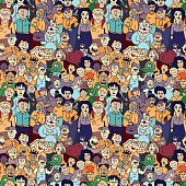 Seamless pattern of happy laughing people.