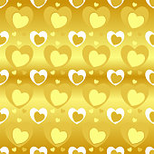 Seamless pattern of heart texture in yellow color, different heart sizes on gold (gradient yellow) background.