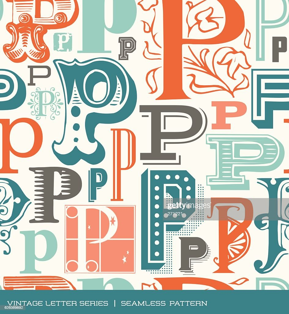 Seamless pattern of letter P in retro styles and colors