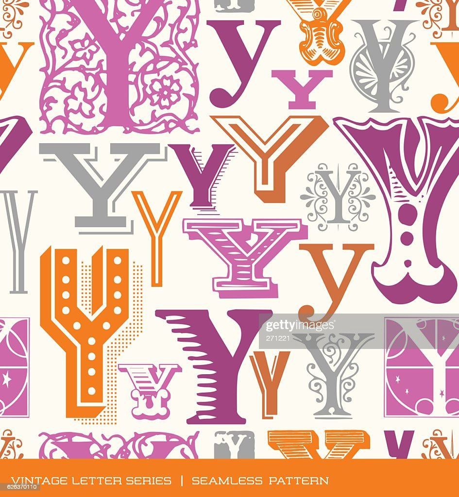 Seamless pattern of letter Y in retro styles and colors