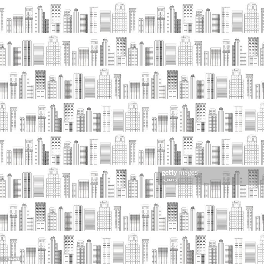 Seamless pattern of line skyscrapers. Black and white
