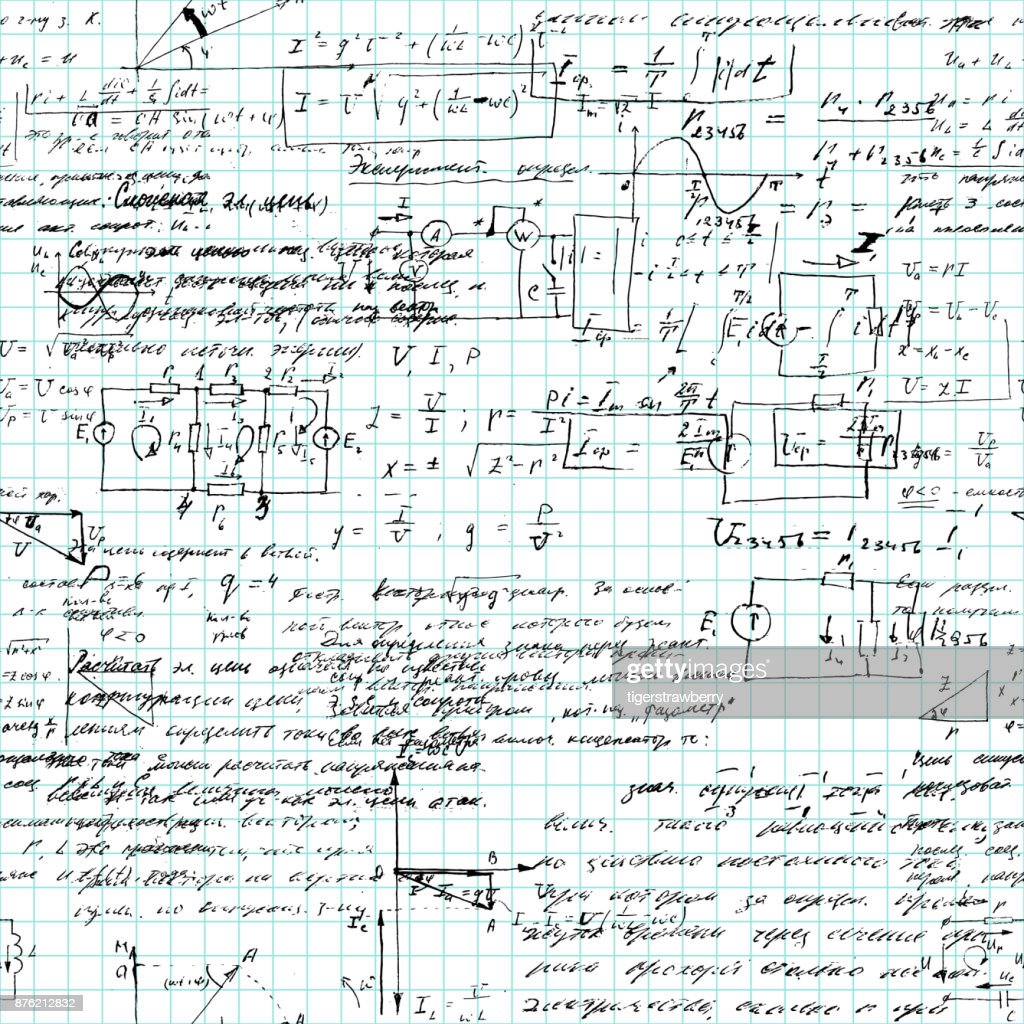 Seamless pattern of mathematical operation and equation, endless arithmetic pattern on endless copybook paper sheet. Handwritten lesson. Geometry, math, physics, electronic engineering subjects.