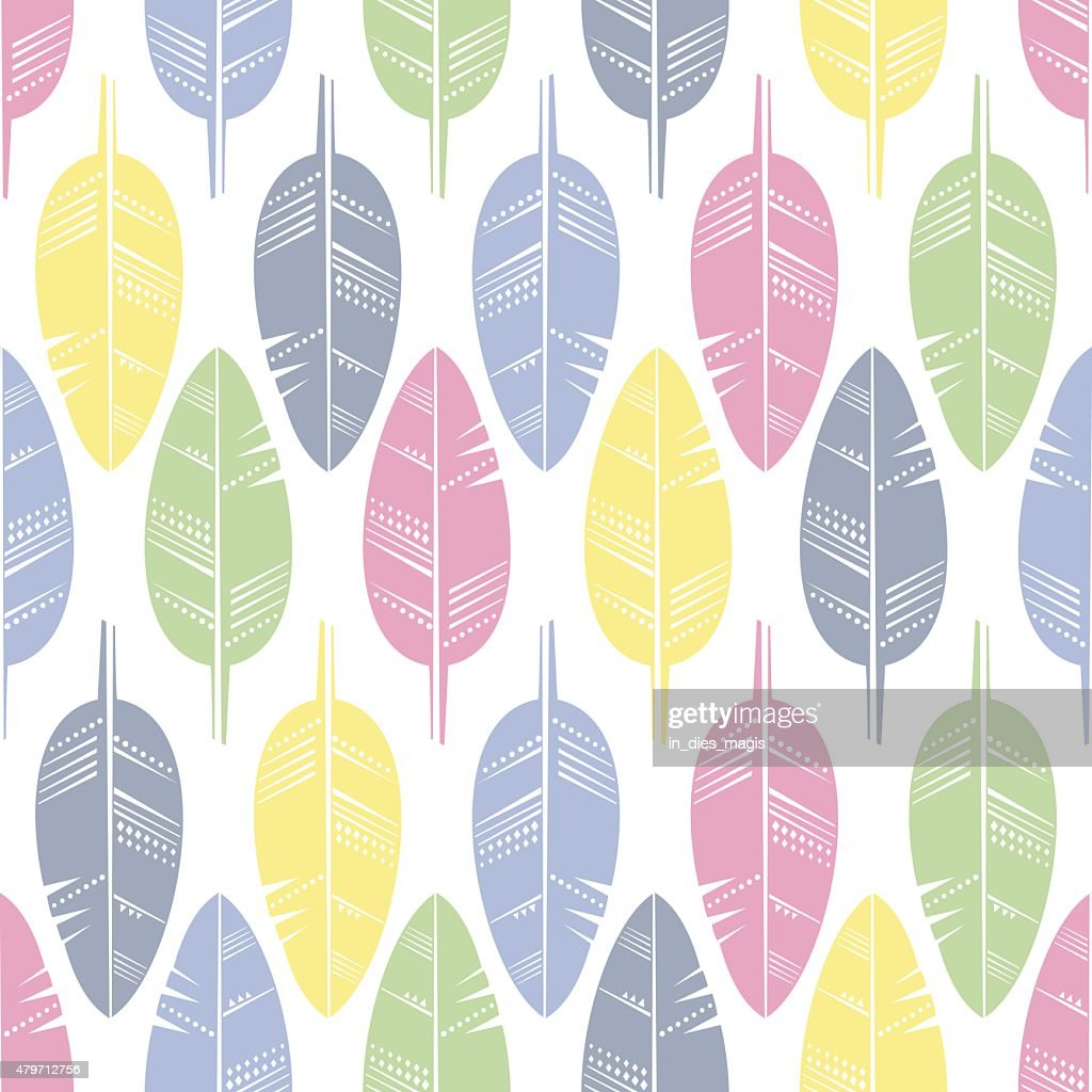 Seamless Pattern of Multicolored Feathers for Modern Wallpaper