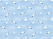 Seamless pattern of nautical birds - marine seagulls. Hand drawn vector sea illustration.