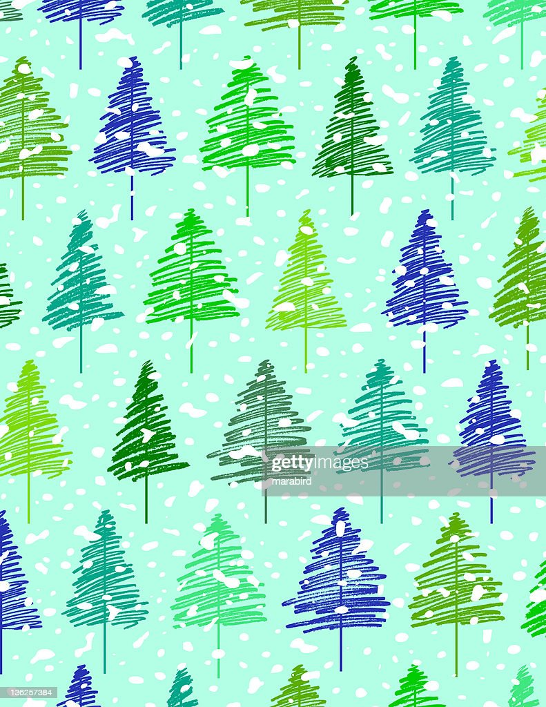 seamless pattern of pinery vector art - Pinery Christmas Trees