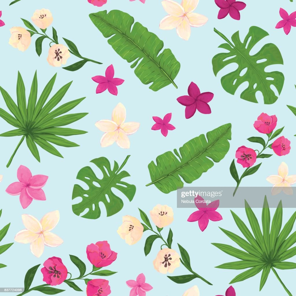 Seamless Pattern Of Pink And White Tropical Flowers On Light Blue
